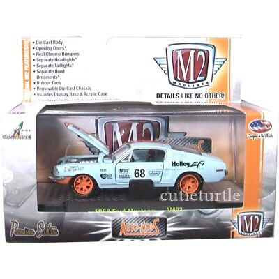 M2 Machines Auto Mod 1968 Ford Mustang #68 1:64 Diecast 32600 AM02 Light Blue 1968 Ford Mustang Auto