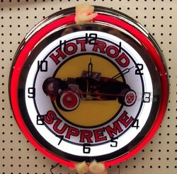 18 Classic HOT ROD SUPREME Street Rod Sign Double Neon Clock