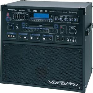 vocopro gigman cd g 100 watt karaoke machine system w 2 mics mixer gig man ebay. Black Bedroom Furniture Sets. Home Design Ideas