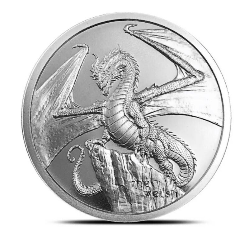 THE WELSH DRAGON WORLD OF DRAGONS 1OZ SILVER ROUND BU IN CAPSULE * 2ND ISSUE *