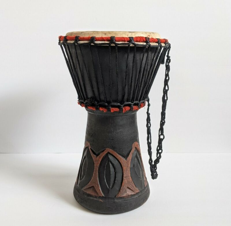 Vintage Handcrafted African Djembe Drum - Solid Wood, Goat Skin - Made in Ghana