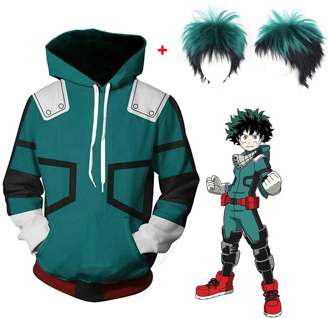 My Hero Academia Boku Izuku Midoriya Cosplay Costume Set : Hoodie + Green Wigs Clothing, Shoes & Accessories