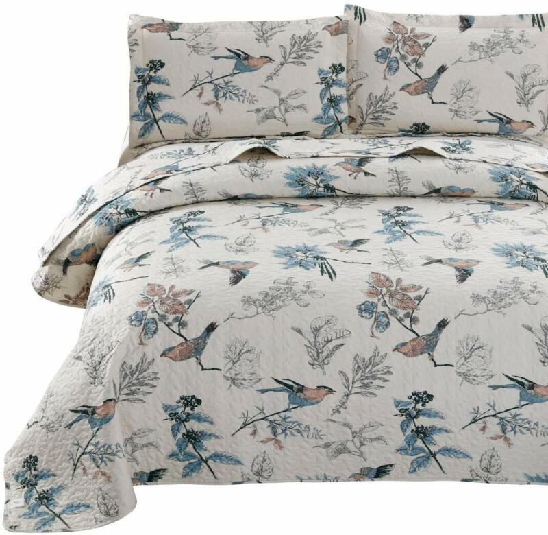 King Size Bedspread Set Jacquard Birds Floral Quilts Coverle