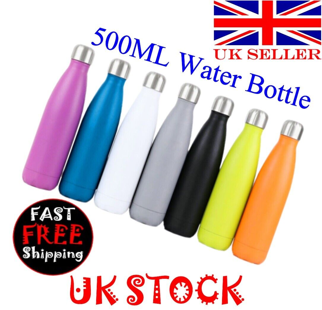 Water Bottle Vacuum Insulated Flask Thermos Sport Chilled Drinks -500ML