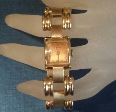 1950s NAMRON SWISS WATCH CO. 14k  Solid Gold Bracelet-style Wrist Watch 6.75
