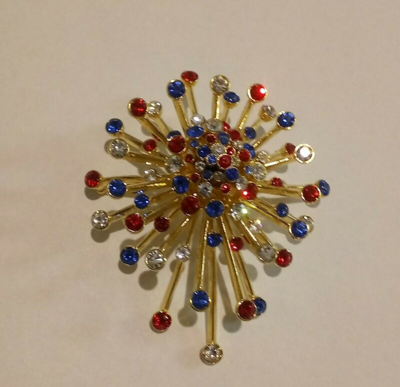 Joan Rivers Holidays Red, White and Blue Starburst Pin Brooch