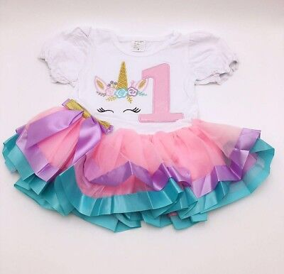 Unicorn baby  girls' birthday party outfit dress 1year old - 1 Year Old Birthday Party