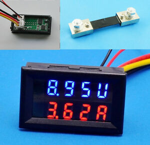 New 200V 100A DC Digital Voltmeter Ammeter LED Amp Volt Meter + Current Shunt