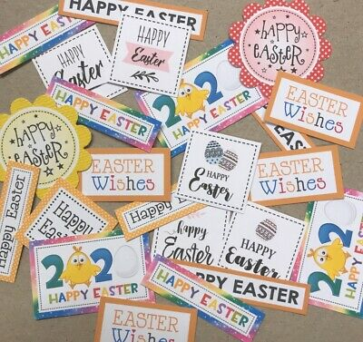 20+ EASTER - SMALL Sentiments/Banners MIXED Hand Made Card Toppers 3-4cm