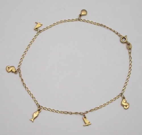 14K YELLOW GOLD ITALY CHARM ANKLET, 6 NAUTICAL, MARINE, OCEAN CHARMS