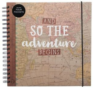 WHSmith Adventure Begins Travel Scrapbook Album Hardback Cover 50 Black Leaves