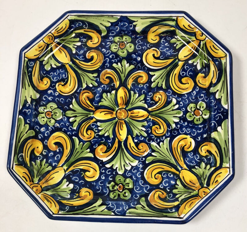 "Caltagirone Italy Faience Abstract Floral Art Pottery Octagon 10"" Plate Signed"