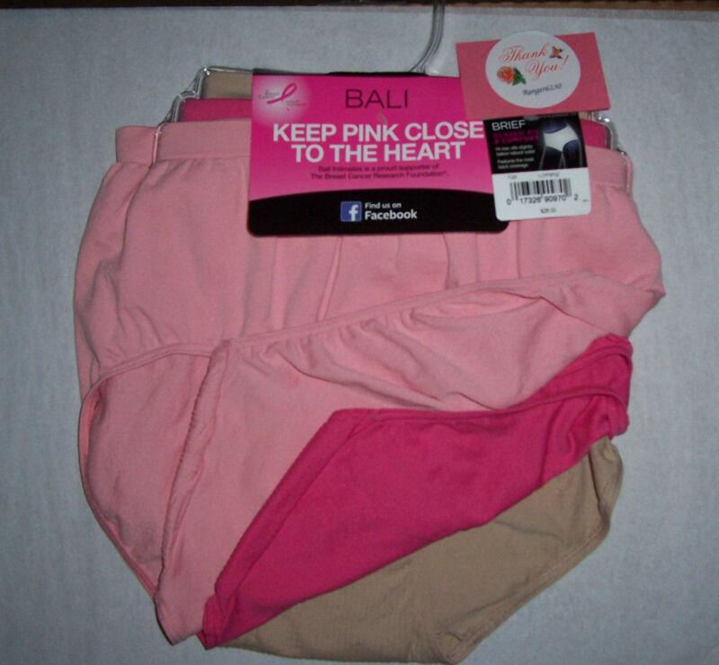 Bali Nylon Brief Womens Soft Seamless No Ride Up 3 Panties Size 6/7 Pink Nude