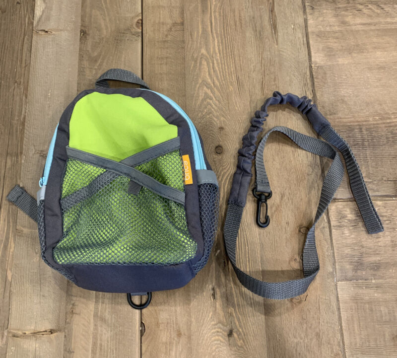 Brica By-My-Side Safety Harness Backpack, Green/Gray Toddler Leash, Lightweight