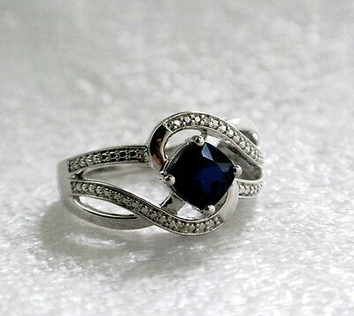 (Blue Sapphire Diamond Accent Swirl Ring Size 7 Lab-Created Cushion-Cut 6.0mm)