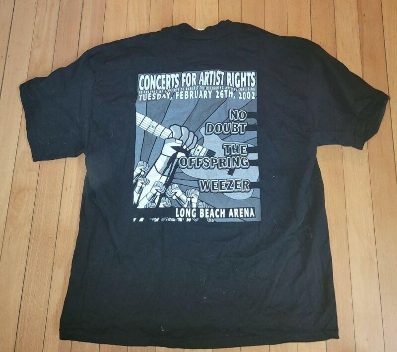 Recording Artists Coalition No Doubt Offspring Weezer 2002 Concert T - Shirt XL