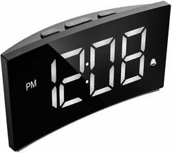 Mpow 5 Curved Digital LED Alarm Clock Dimmable Snooze Clock Bedroom 12/24H NEW