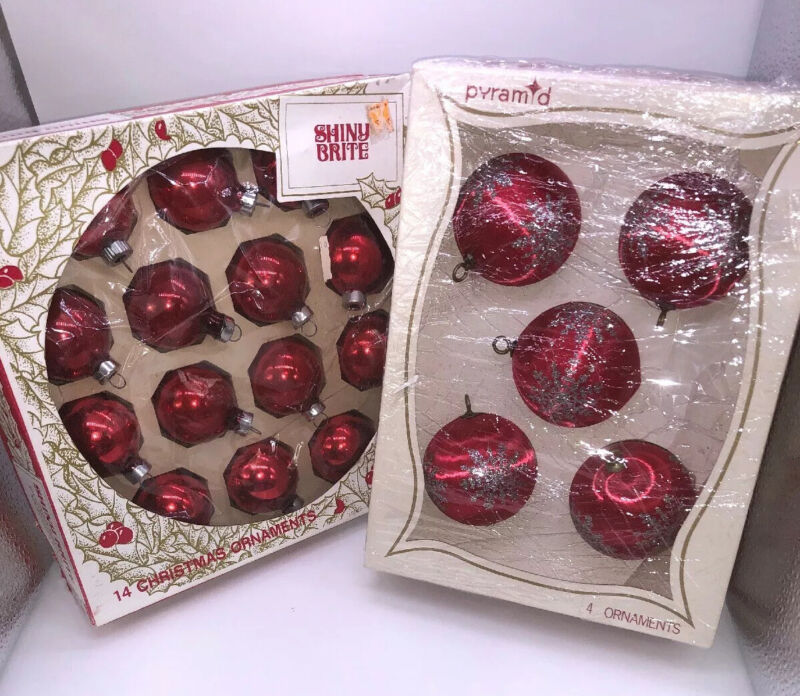 Vintage Shiny Brite & Pyramid Red Christmas Ornaments With Boxes