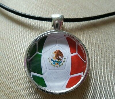 MEXICO Soccer Futbol.Glass Pendant with Leather Necklace