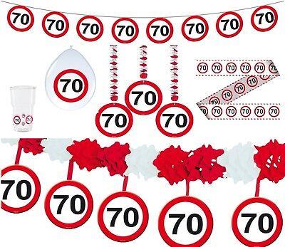Verkehrsschild 70 Partyartikel Geburtstag Deko Tischdeko Absperrband Teller ()
