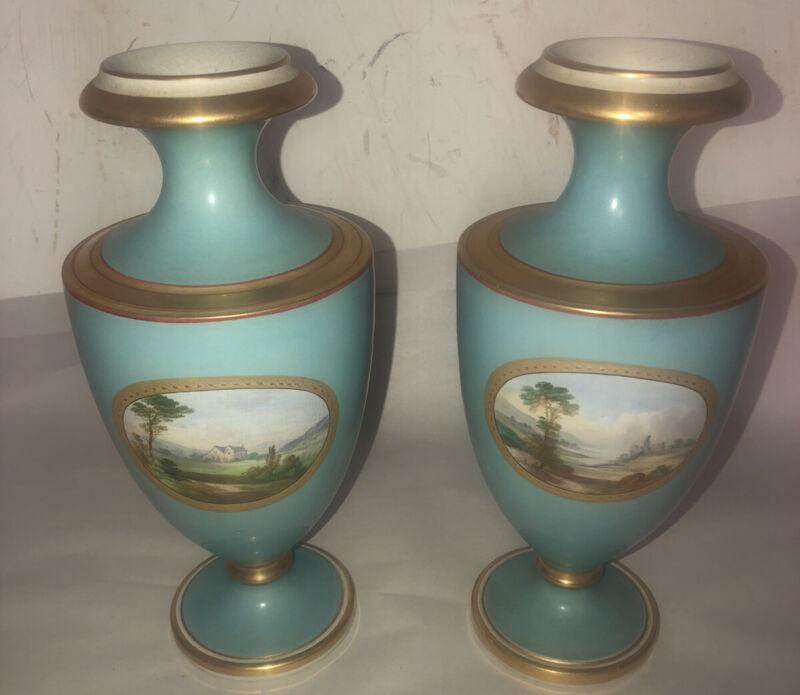 Pair Of Antique 19c Davenport Vases/urns