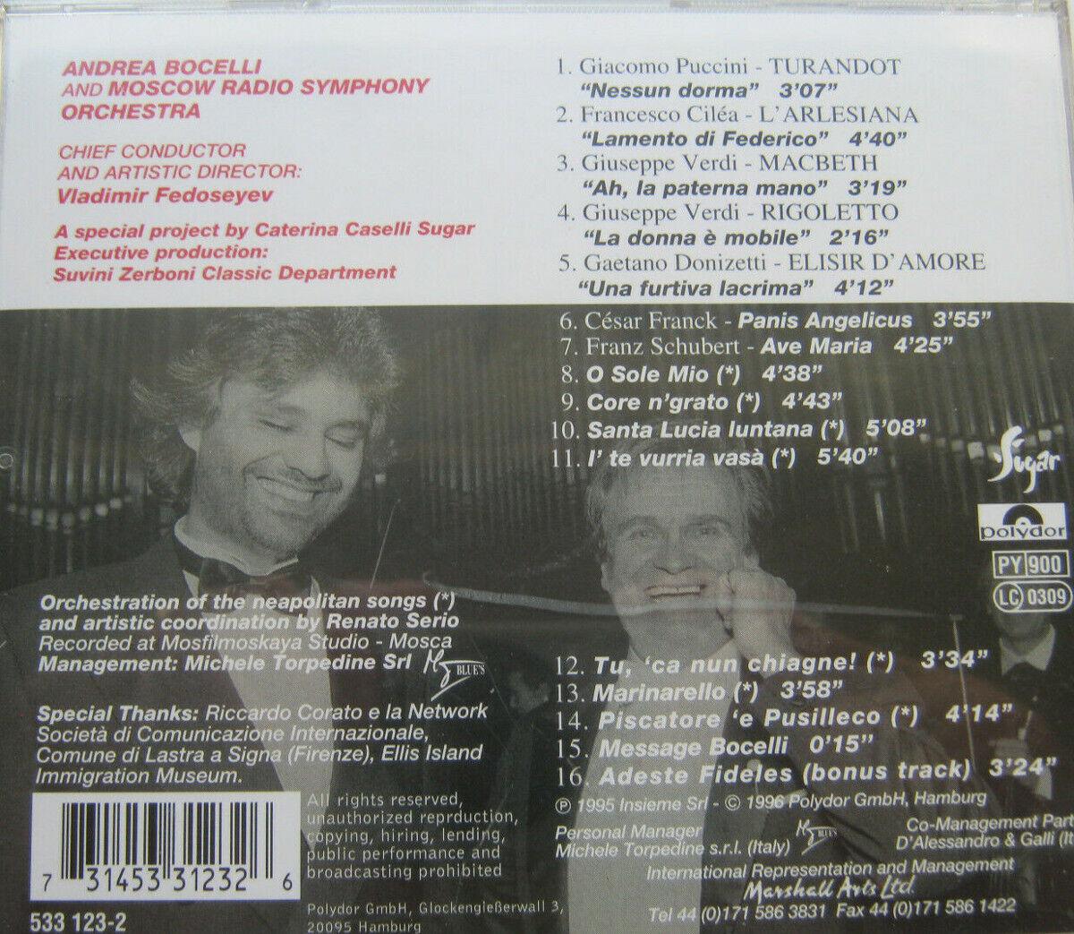 CD Album 1995 Viaggio Italiano - Andrea Bocelli, Nessun Dorma , Ave Maria ua.