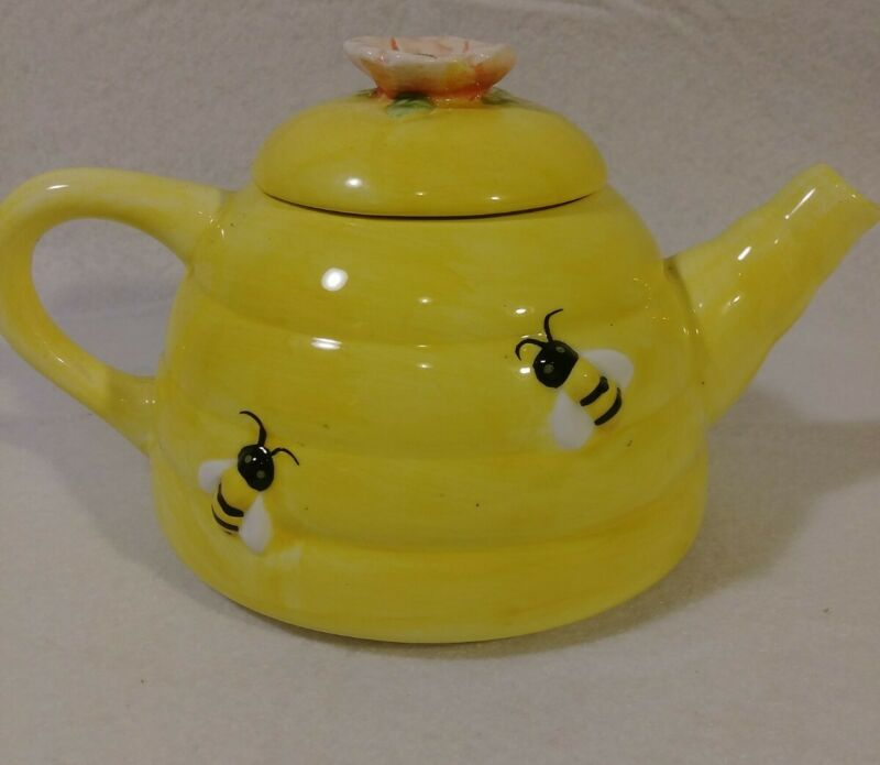Vintage Ceramic Beehive Teapot Yellow Bees Pink Flower