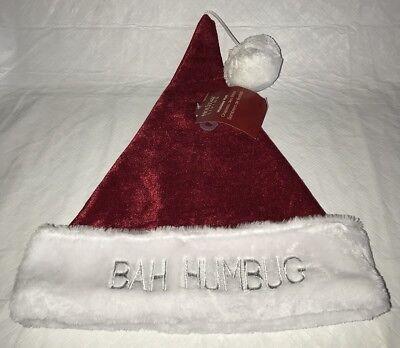 NEW HOLIDAY LIVING HOLIDAY HAT SANTA BAH HUMBUG RED WHITE PARTY](Bah Humbug Santa Hat)