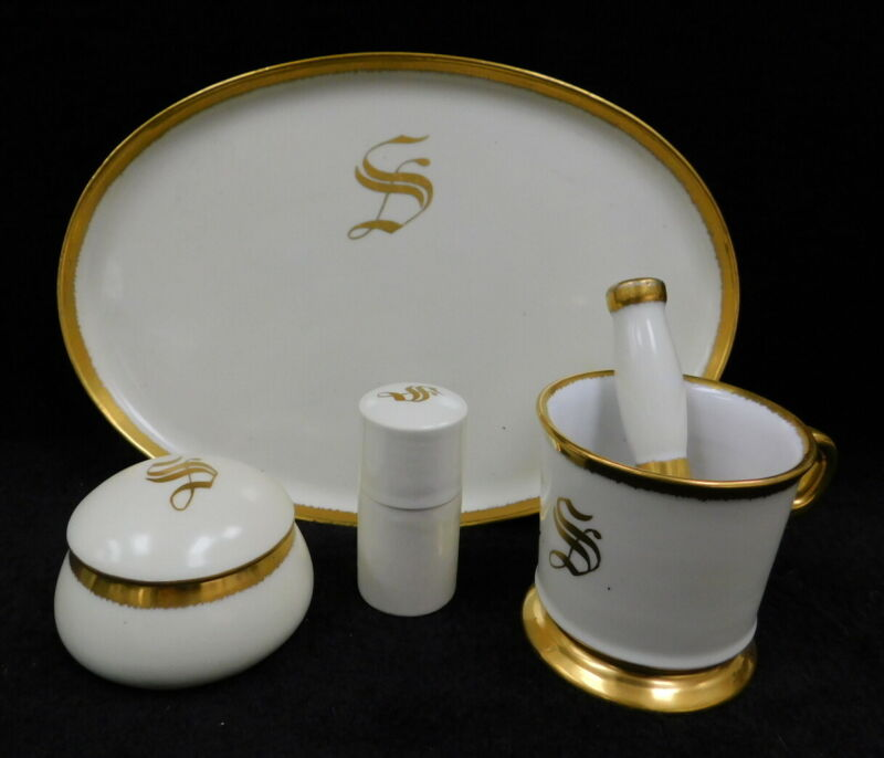 Antique Bavaria Germany Porcelain Vanity Shaving Set Tray Mug Talc Monogram S