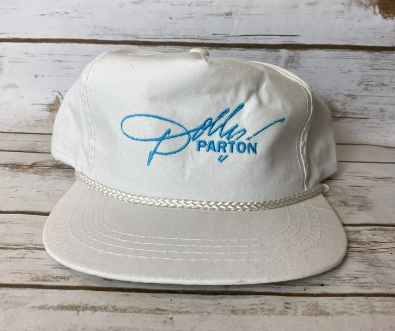 Vintage White Dolly Parton Hat Concert Tour Country Music Rope 90's Yupoong