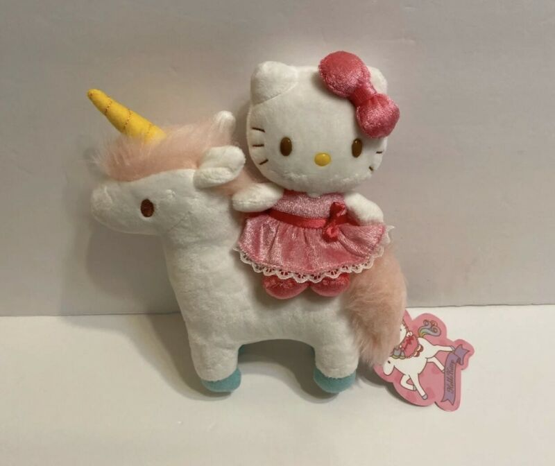 "Sanrio hello kitty ridding unicorn plush 8""Hx 7""W"