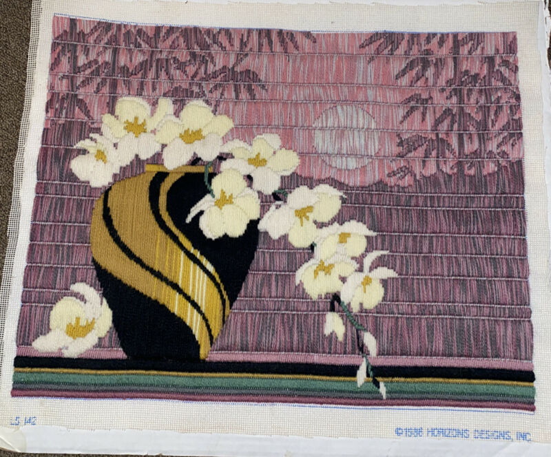 vtg Floral Design  *Horizons Design 1986* Longstitch Beautiful Complete