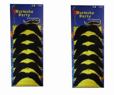 Mustache 70s (Pack of 6 or 12 Black Mexican 70's Stick on Fake Mustache Self Adhesive)