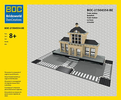 LEGO Bahnhof Train Station La Gare estacion BOC-21504554-BE Bricksworld OwnCreat
