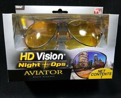New in Box HD Vision Night Ops Aviator Glasses Yellow lens black frame (As Seen On Tv Aviator Sunglasses)