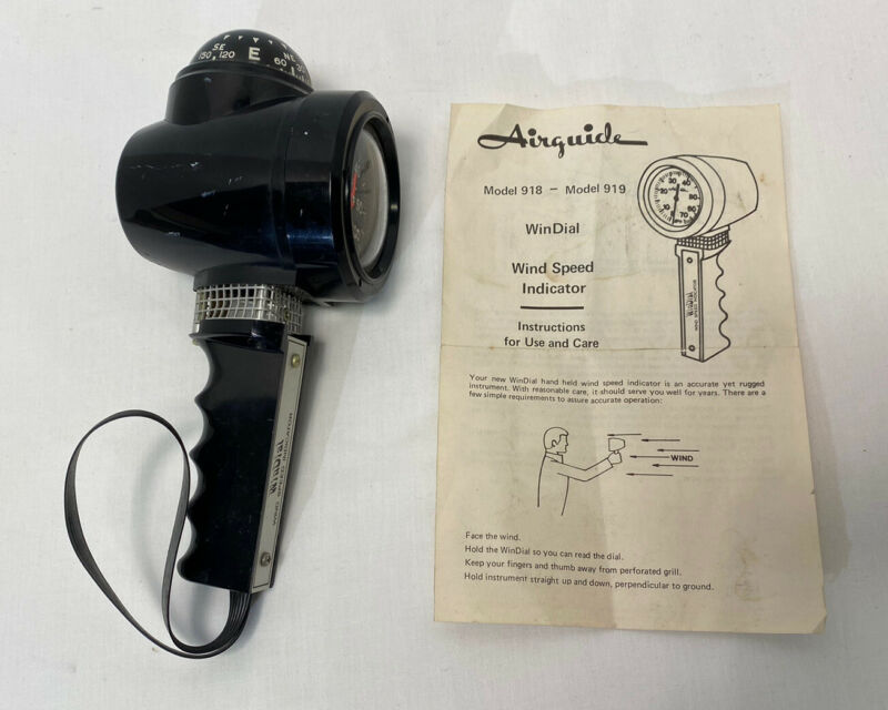 Vintage Airguide Hand Held Windial Wind Speed Indicator & Compass Work/boat/hike