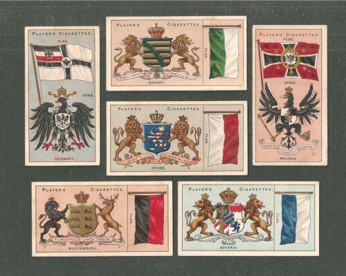 GERMAN EMPIRE STATE FLAGS 6 original 1905 cards PRUSSIA SAXONY BAVARIA HESSE