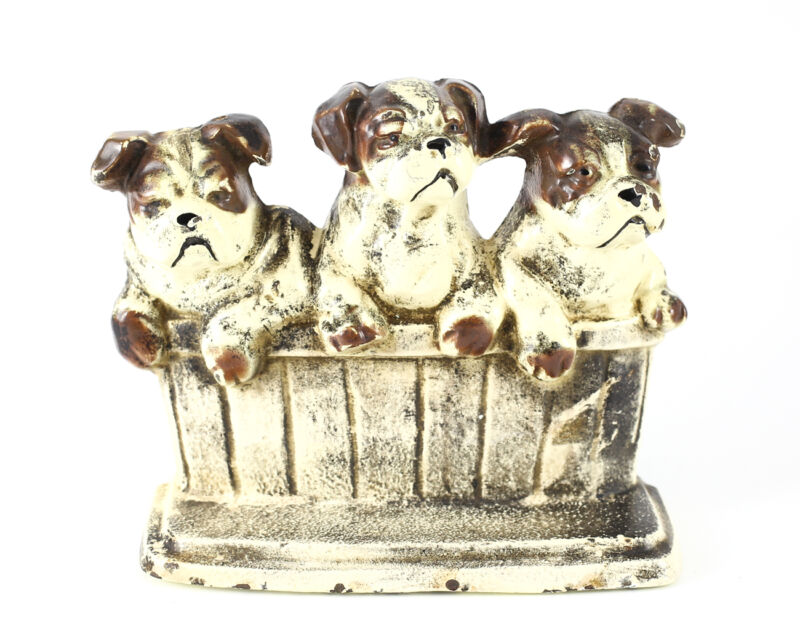 c.1900 Cold Painted Cast Iron Three Bull Terrier Dogs in Basket Door Stopper