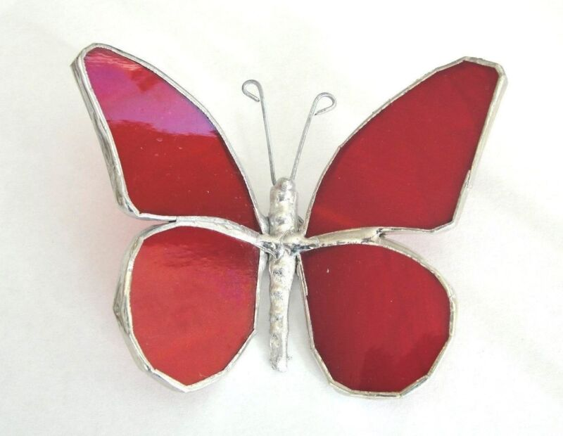 Lot of 5 Stained Glass  RED Butterflies  - HANDMADE Suncatcher Ornament !