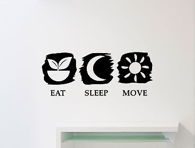 Eat Sleep Move Wall Decal Gym Fitness Quote Vinyl Sticker Poster Art Decor 139gy