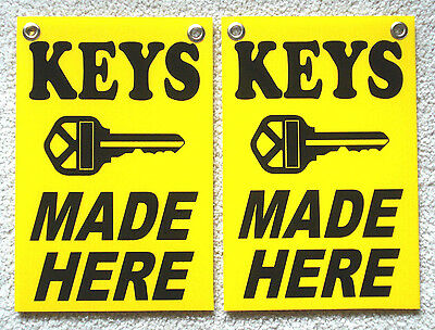 2 Keys Made Here Coroplast Signs With Grommets 8 X 12