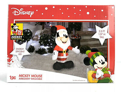 Mickey Mouse Santa Disney Airblown Christmas Inflatable 3.5 Ft Tall Gemmy LED
