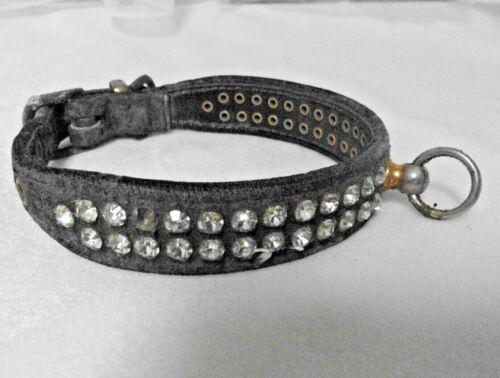 "Vintage Retro 1950s -1960s 11"" Old Black Leather & Rhinestone Studded Dog Collar"