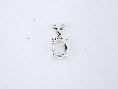 Oval 4 Prong Wire Mount Pendant Setting Sterling Silver  (Oval Wire Pendant Mounting)