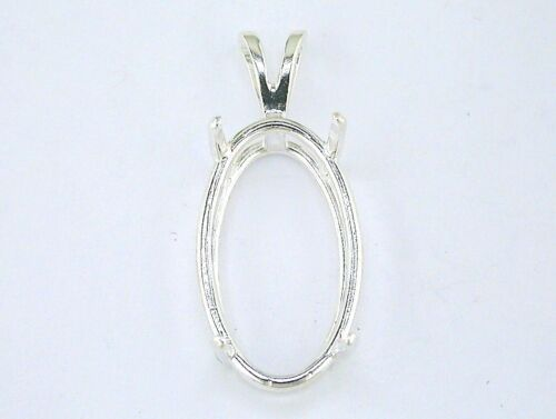 Oval 4 Prong Wire Mount Pendant Setting Sterling Silver
