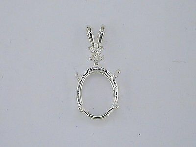 Oval Single Accent Pendant Setting Sterling Silver