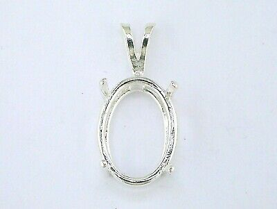 Oval Deep 4 Prong Heavy Wire Mount Pendant Setting Sterling Silver  (Oval Wire Pendant Mounting)