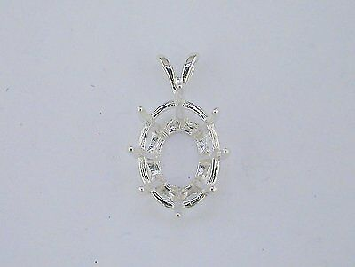 Oval Deep 8 Prong Pendant Setting Sterling Silver