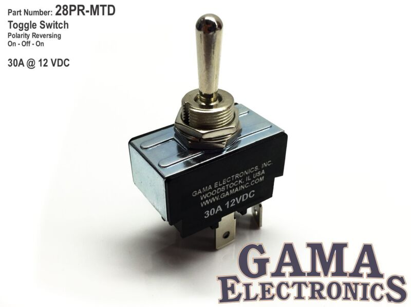 30 Amp Toggle Switch Polarity Reversing DC Motor Control - Maintained - 28PR-MTD