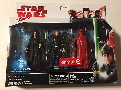 "Star Wars Force Link 3 Pack Emperor Luke Jedi Royal Guard 3.75"" Target Excl"